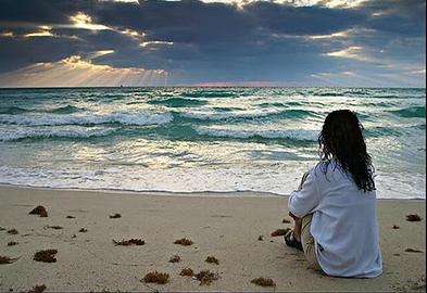 meditando en el mar